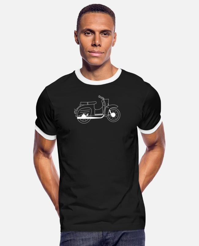 Two-stroke T-Shirts - Simson Schwalbe Gift Shirt Swallow Driver - Men's Ringer T-Shirt black/white