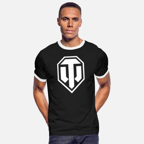 Spel T-shirts - World of Tanks Logo - Mannen ringer T-shirt zwart/wit