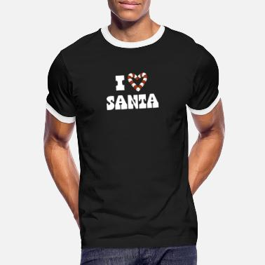 Ich liebe Santa Cany Cane Heart Funny Christmas - Männer Ringer T-Shirt