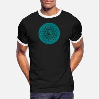 Spirituality - Life Flower with Yin Yang - Men's Ringer T-Shirt