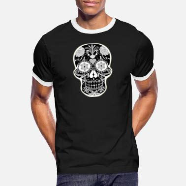 Day Of The Dead black and white cranium - Men's Ringer T-Shirt