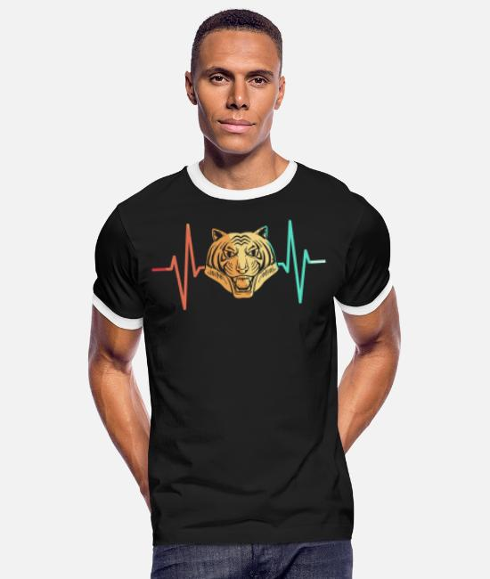 Indochinese T-Shirts - Tiger big cat predator heartbeat - Men's Ringer T-Shirt black/white