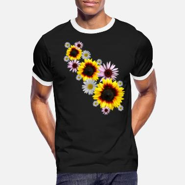 Flower tendril with sunflowers, daisies, flowers - Men's Ringer T-Shirt