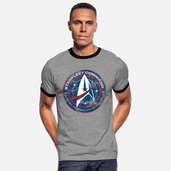 Star T-Shirts - Star Trek Discovery Starfleet Insignia - Men's Ringer T-Shirt heather grey/black