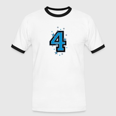 The number 4 and Stars - Men's Ringer Shirt