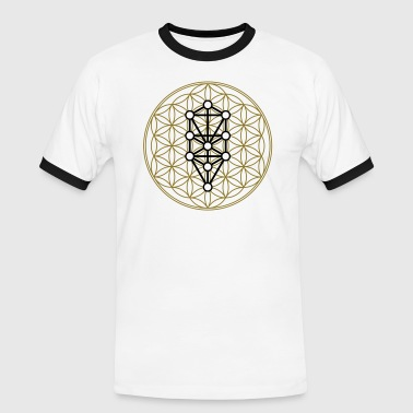 Flower of Life with 10 Sephiroth, Kabbalah, 2c - Men's Ringer Shirt