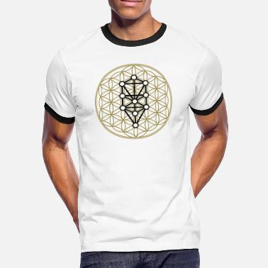 Kabbalah Flower of Life with 10 Sephiroth, Kabbalah, 2c - Men's Ringer Shirt