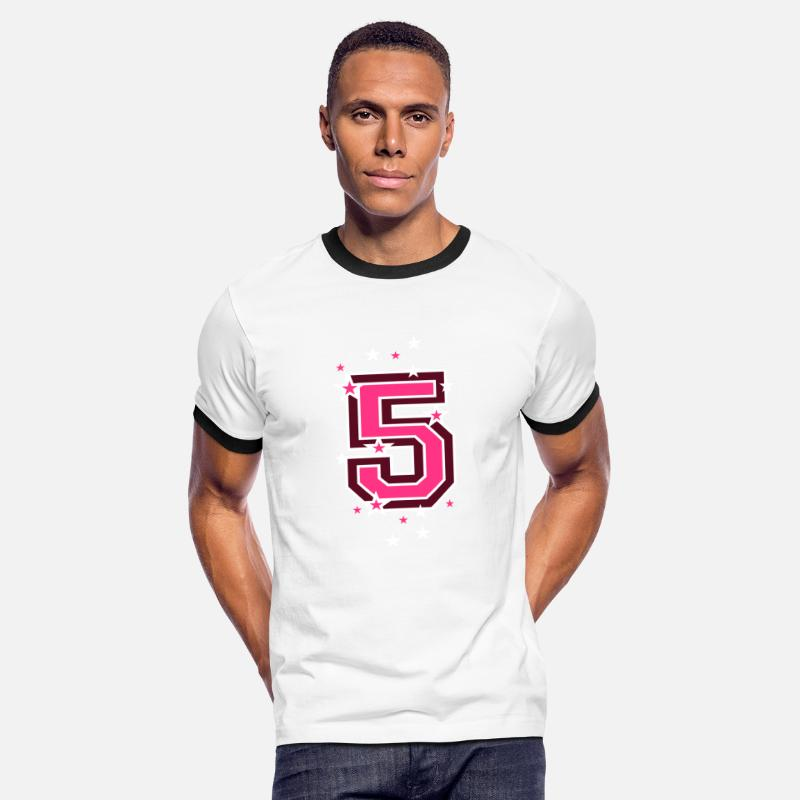 Black T-Shirts - The number 5 and stars - Men's Ringer T-Shirt white/black