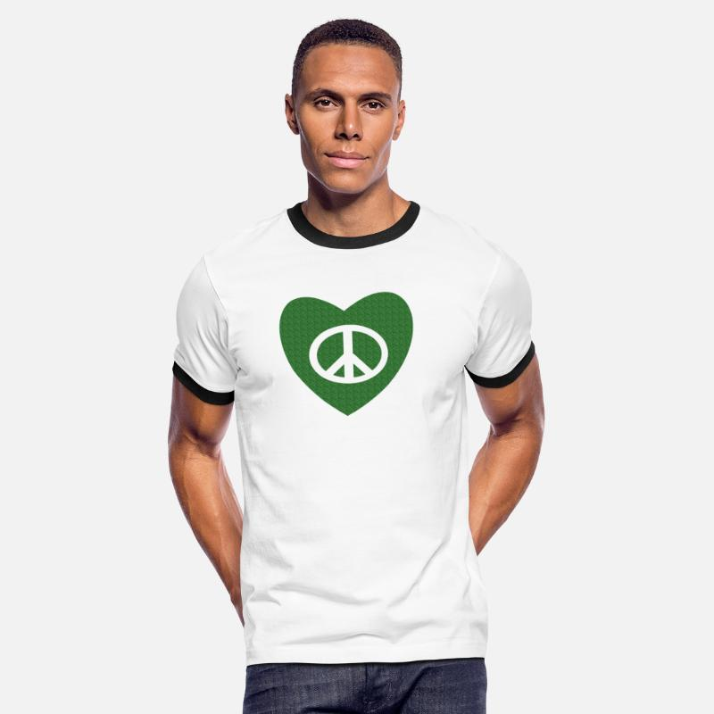 Love T-shirts - tatouage amour et paix peace and love tattoo - T-shirt contrasté Homme blanc/noir