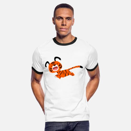 2010 T-Shirts - Cute Running Cartoon Tiger by Cheerful Madness!! - Men's Ringer T-Shirt white/black