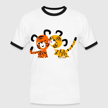 Cute Cartoon Tigers in Love by Cheerful Madness!! - Men's Ringer Shirt