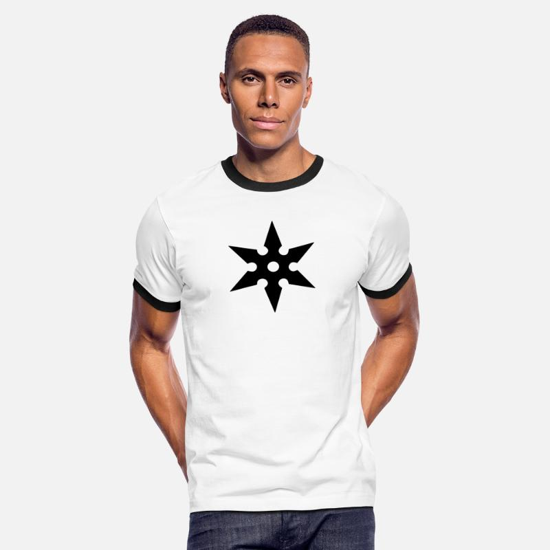 Japan T-Shirts - Shuriken Throwing Star, Ninja, Japan, Martial Arts - Mannen ringer T-shirt wit/zwart