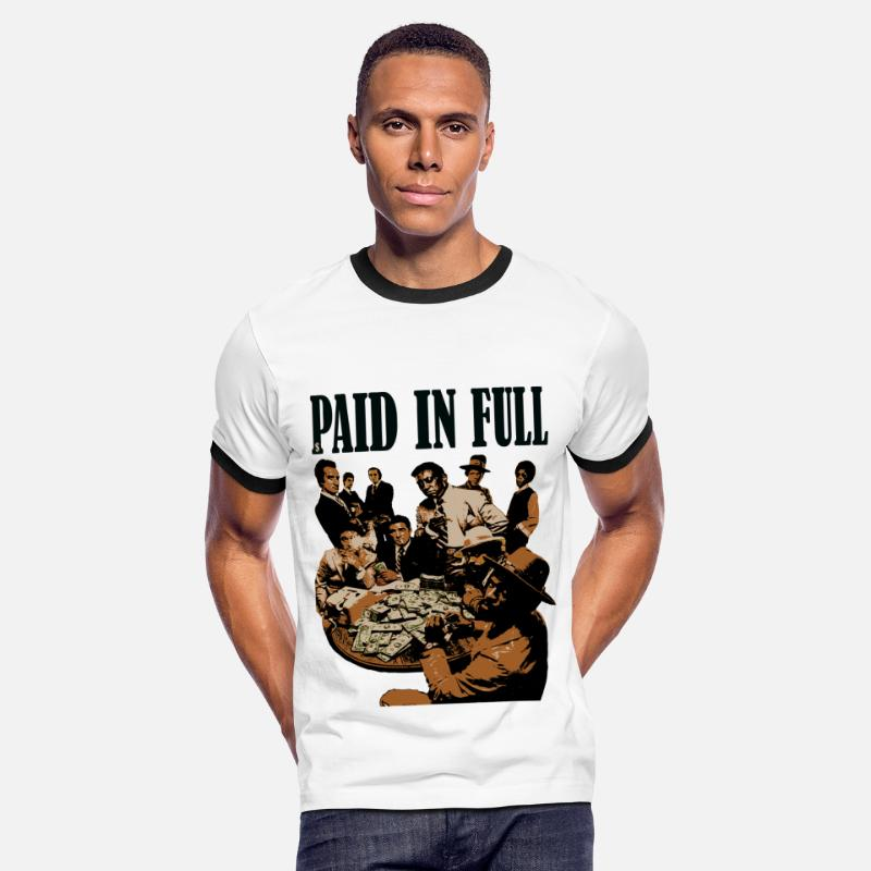 Paid In Full T-Shirts - paid in full shirt - Men's Ringer T-Shirt white/black