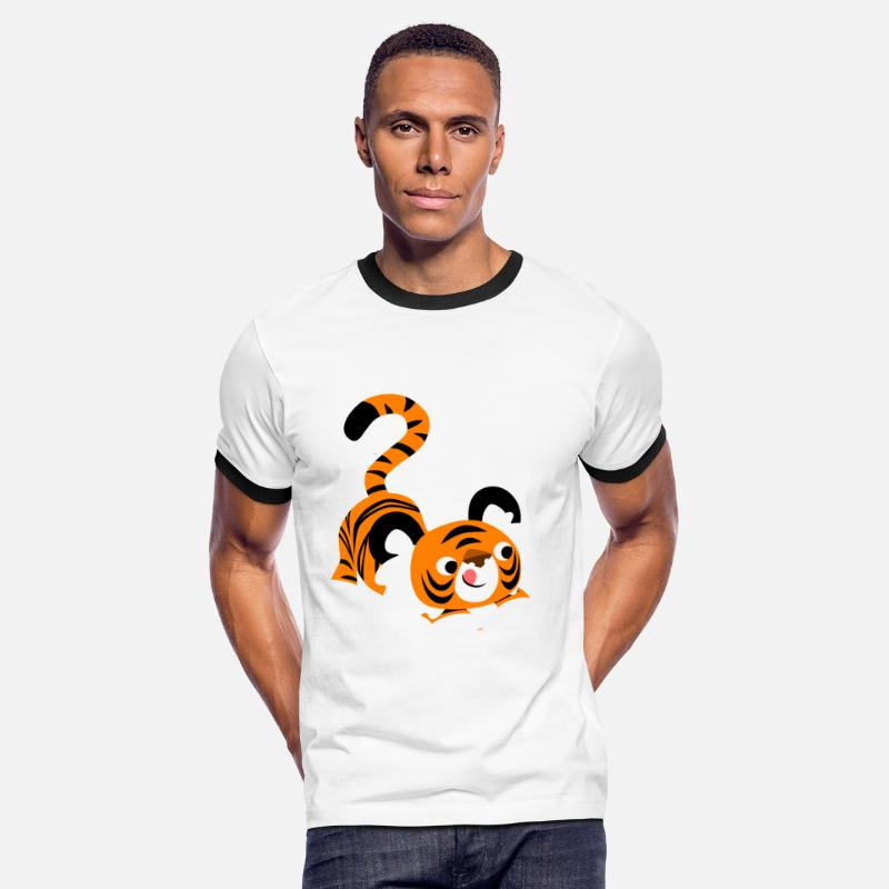 Pounce T-Shirts - Cute Cartoon Tiger Ready To Pounce!! by Cheerful Madness!! - Men's Ringer T-Shirt white/black