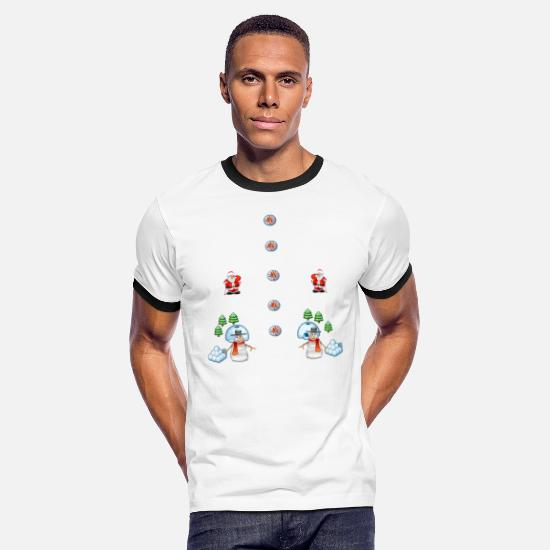 Christmas T-Shirts - christmas snowmans Scene Father Christmas - Men's Ringer T-Shirt white/black