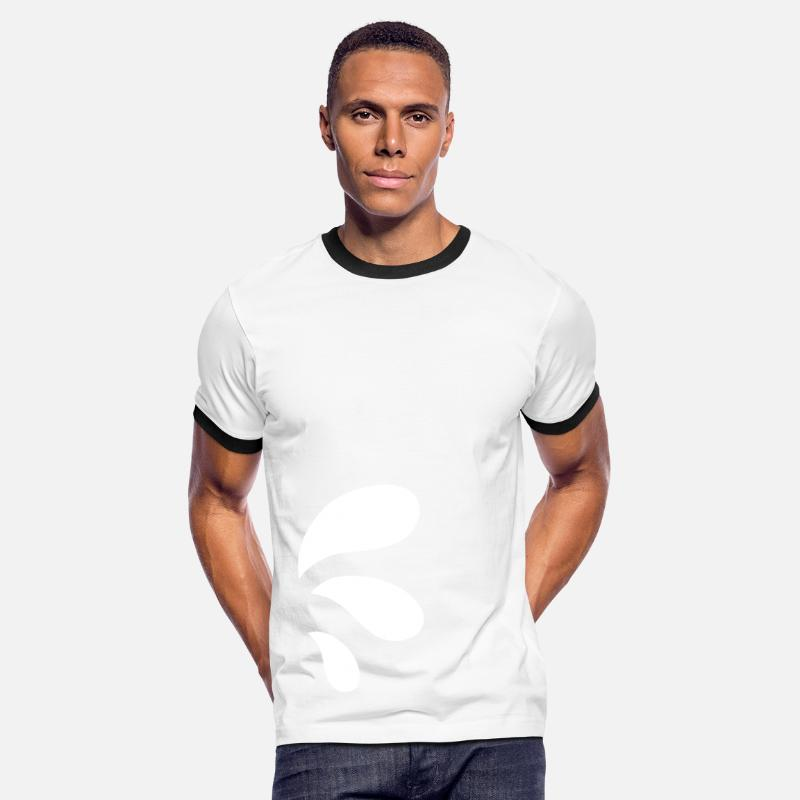 Funky Camisetas - three curvy water blue droplets - Camiseta contraste hombre blanca/negro