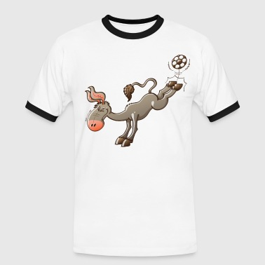 Donkey Donkey Shooting a Foot Ball - Men's Ringer Shirt