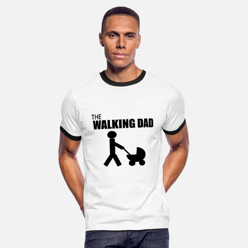 Papa T-shirts - the walking dad,citation,humour,parodie - T-shirt contrasté Homme blanc/noir