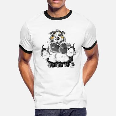 Australian Shepherd Cartoon Australian Shepherd and sheep - Dog - Men's Ringer Shirt