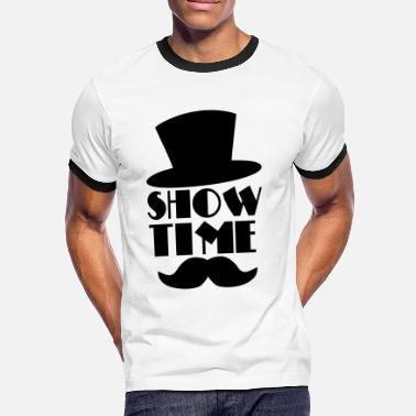Time SHOW TIME clown circus hat and moustache  - Men's Ringer Shirt