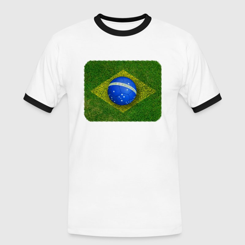 Brazil flag football design - Men's Ringer Shirt