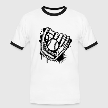 Baseball A baseball glove with a baseball  - Men's Ringer Shirt