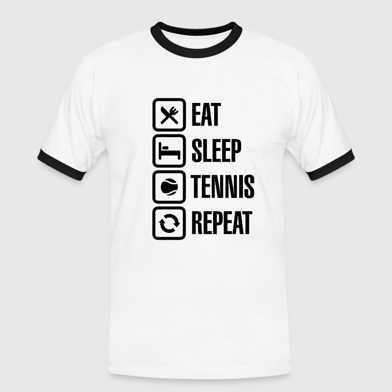 Eat Sleep Tennis Repeat - Mannen contrastshirt
