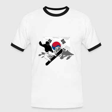 Snowboarding - South Korea Flag - Männer Kontrast-T-Shirt