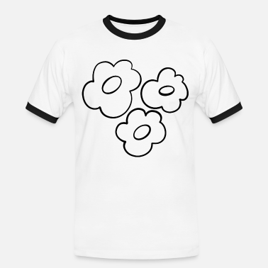 Blomster minimalistisk strektegning svart Kontrast T skjorte