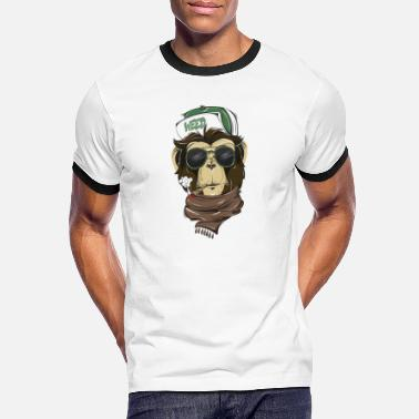 Smoking Cool Hipster Monkey tee - Men's Ringer T-Shirt