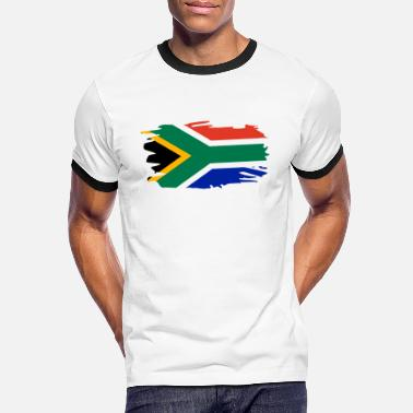 South South Africa Flag Brush Heart Holiday Africa Home - Men's Ringer T-Shirt
