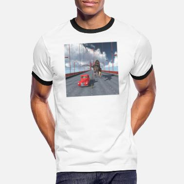 Dinosaure Spinosaurus sur le Golden Gate Bridge - T-shirt contrasté Homme