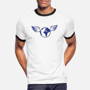 Global earth with wings - Kontrast T-shirt mænd