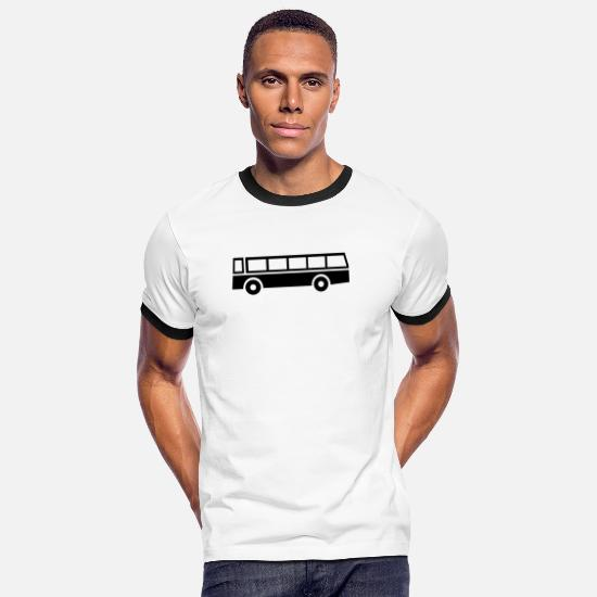Bus T-Shirts - bus,vehicle,mode of transport - Men's Ringer T-Shirt white/black