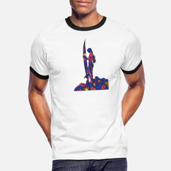 Psykedelisk surferpike Kontrast T skjorte for menn | Spreadshirt