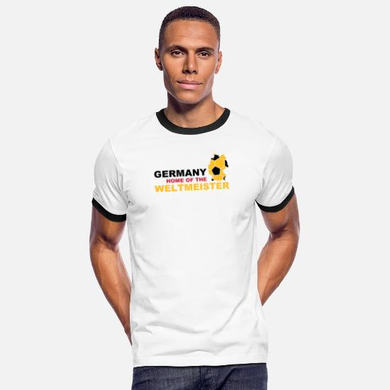 Mål T-shirts - germany home of the weltmeister - Kontrast T-shirt mænd hvid/sort