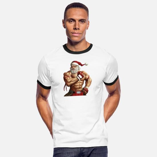 Muscle T-Shirts - Muscle Santa - Men's Ringer T-Shirt white/black