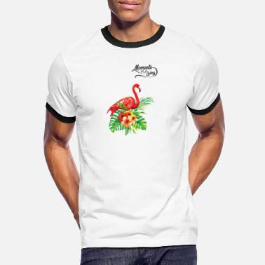 Summe Red Flamingo and Flowers summer design tropical - Männer Ringer T-Shirt