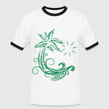 Palm trees with wave and sun, vacation, surf. - Men's Ringer Shirt