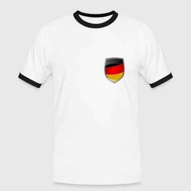 Shield with German Flag - Männer Kontrast-T-Shirt