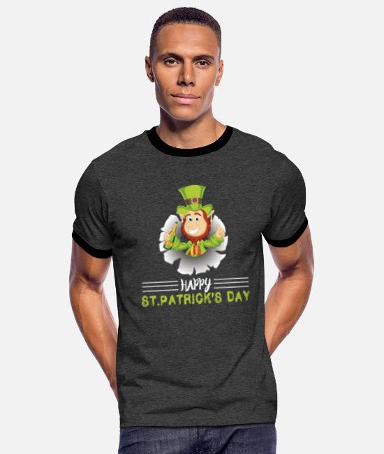 St Patricks Day T-Shirts - Happy St Paddys Day - Men's Ringer T-Shirt charcoal/black