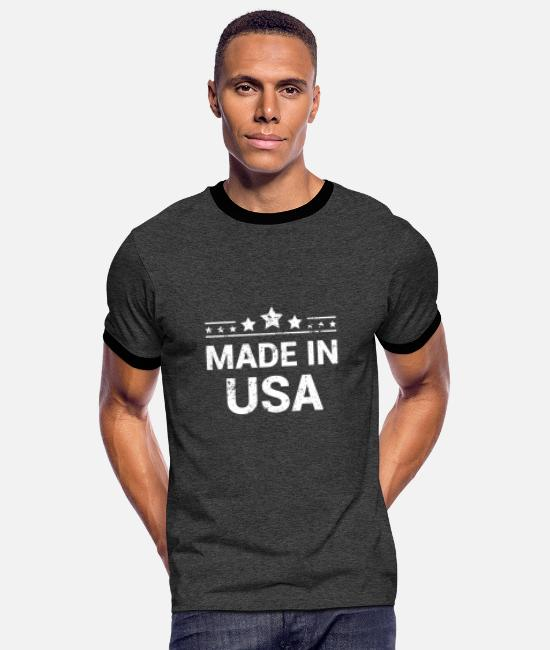 Usa T-Shirts - Made in USA, vintage - Men's Ringer T-Shirt charcoal/black