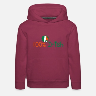 Irish ♥ټ☘Kiss Me I'm 100% Irish-Irish Rule☘ټ♥ - Kids' Premium Hoodie