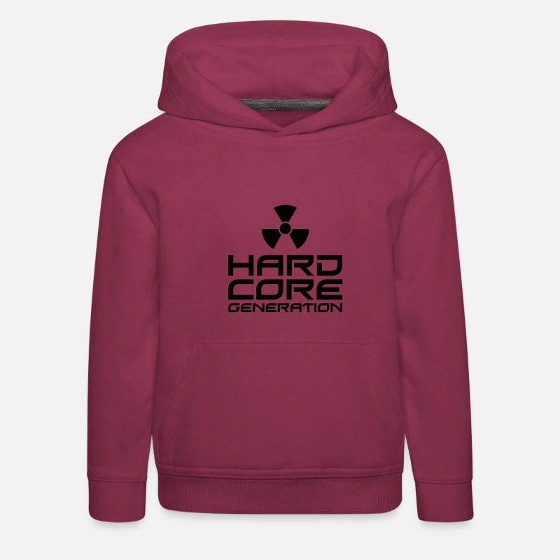 Techno Sweat-shirts - Hardcore Generation III Radio Active FR - Sweat à capuche premium Enfant bordeaux