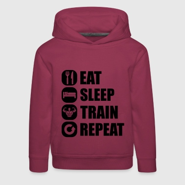 Gimnasio eat_sleep_train_repeat_1_1f - Sudadera con capucha premium niño