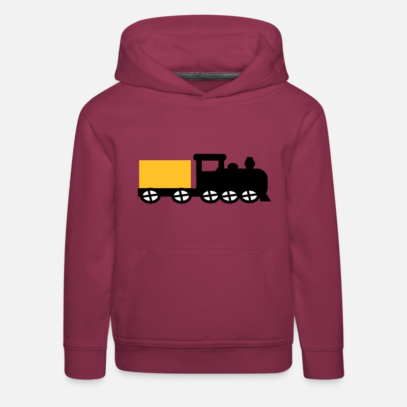 Train Sweat-shirts - train - Sweat à capuche premium Enfant bordeaux