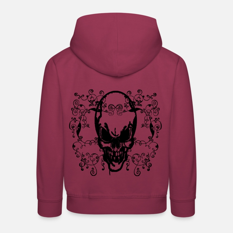Spreadshirt Sweat-shirts - tete de mort - Sweat à capuche premium Enfant bordeaux