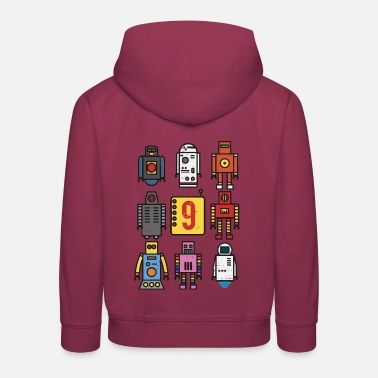 Retro robot 9th birthday - Kids' Premium Hoodie
