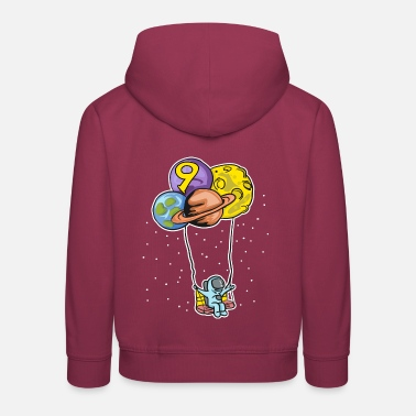 Astronaut with planet balloons - 9th birthday - Kids' Premium Hoodie