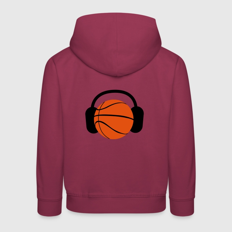 a basketball with headphones music - Kids' Premium Hoodie